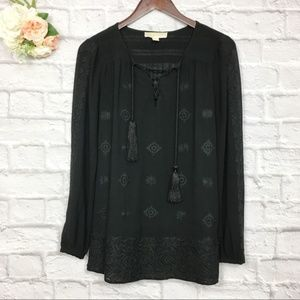 Michael Kors Long Sleeve Embroidered Top XS